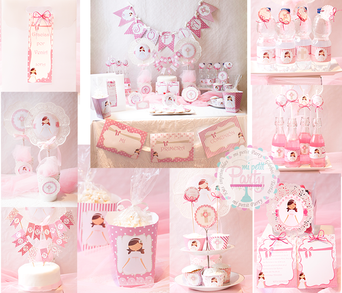 Kit imprimible comuni n rosa mi petit partymi petit party for Mesa de chuches comunion nina